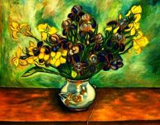 19) Öl a. Lw., 80x110, Lilien bearbeitet