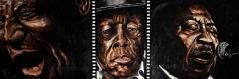 12) Juni 2012, Öl a. Lw., 40x150, the Bluesbrothers (Howlin Wolf - John Lee Hooker - Muddy Waters)