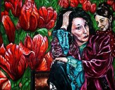 13) Juli 2012, Öl a. Lw., 70x100, sag mir wo die Tulpen blühn