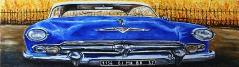 04) Mai 2013, Öl a.Lw., 40x120, my blue cadillac