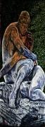 07) August 2013, Öl a. Holz, 154x50, The Lovers Denkmal Düsseldorf
