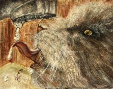 20) Juni 2015, Öl a. Holz, 29x36,5, gerahmt, Katze