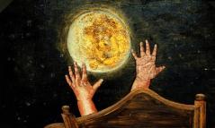 27) August 2015, Öl a. Holzplatte, 58x97, der Mond ist aufgegangen
