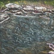 45) November 2015, Öl a. gesandete Dachpappe, 50x50, Studie zu Zeit.fluß