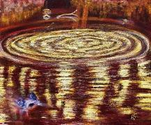 06) März 2016, Öl a.Lw., 40,5x49, Der Karpfen von Giverny
