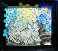 08) März 2016, Öl a.Lw., 61,5x70,5, Glasperlenspiel, HHesse, gerahmt