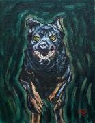 02) Januar 2018, Öl a.Lw., 50x38, Studie II springender schwarzer Hund
