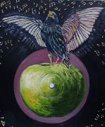03) Januar 2018, Öl a.Lw., 63,5x52, blackbird singing...